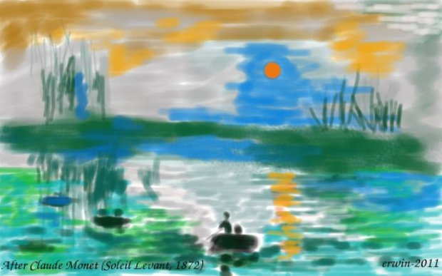 Soleil Leveant, after Claude Monet (1872)-GIMP-