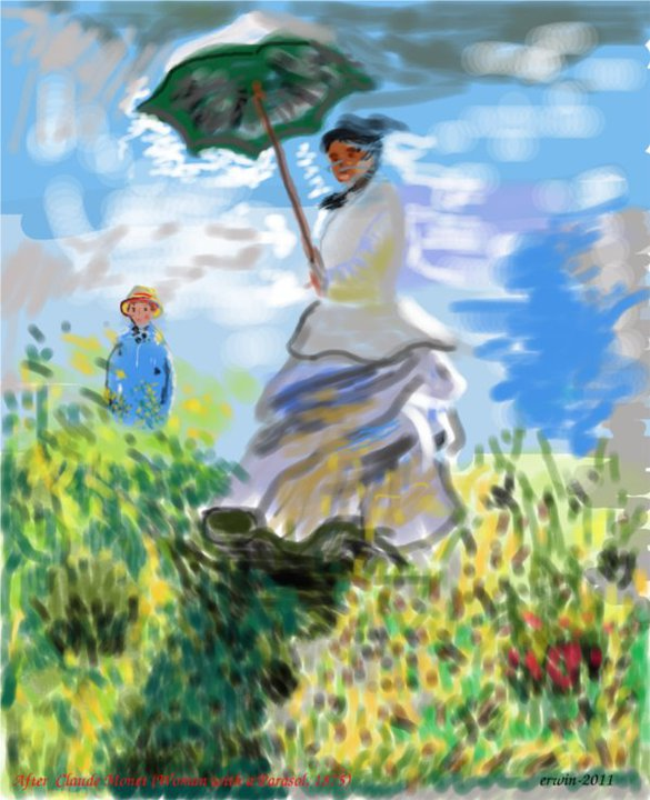 Woman with a Parasol, after Claude Monet (1875)-GIMP-